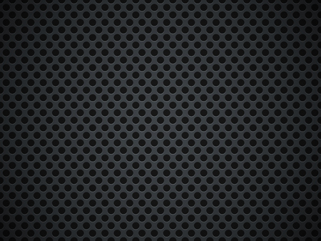 Holed perforated dark grill background. Industrial backdrop. Vector illustration.