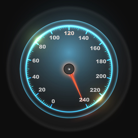Glowing round car speedometer dial. Max speed concept. Vector illustration.