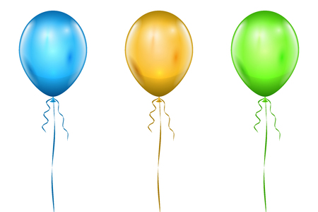 Realistic Blue, Yellow and Green Balloons.
