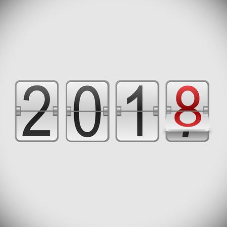 White mechanical scoreboard 2018 New Year vector template.