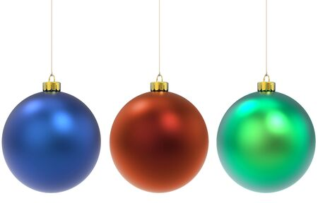 Christmas ball set isolated on white background. 3D illustration. Christmas decoration baubles hanging on the strings winter design template.