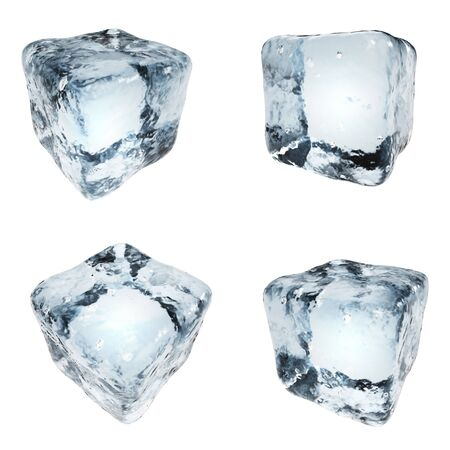 Drink ice cubes isolated on white background. 3D illustration. Frozen water blocks set. Reklamní fotografie