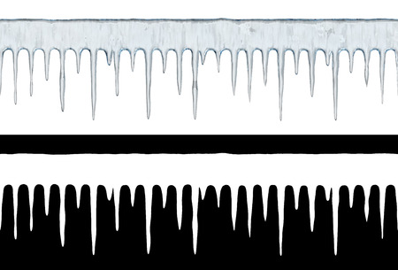 Seamless icicle row isolated on white background. Winter template with layer mask. 3D illustration.