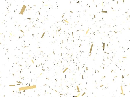 Falling gold confetti on white background. 3D illustration. Christmas festive backdrop.