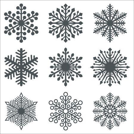 Black Snowflake Shapes Collection on White Background. Christmas Symbols Set. Vector Illustration. Ilustração