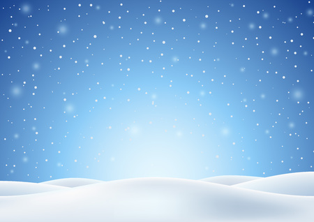 Winter Background with Falling Snow and White Snowy Hills. Christmas Horizontal Backdrop. Vector Illustration.