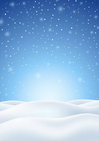 Winter Background with Falling Snow and White Snowy Hills. Christmas Vertical Backdrop. Vector Illustration.