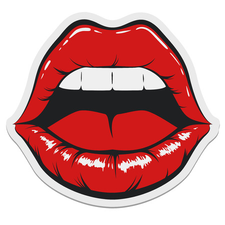 Pop Art Women Mouth with Opened Lips Sticker Template.