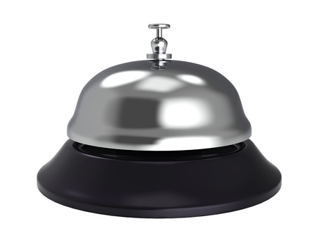 Hotel Reception Bell Isolated on White Background. 3D Illustration. Stock Photo