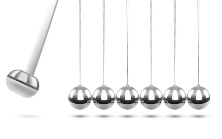 Newtons Cradle Pendulum on White Background. Business Concept. Balancing Chrome Balls. Vector Illustration. Иллюстрация