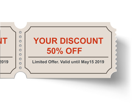 Discount Tear-off Ticket with Shadow on White Background. Sale Coupon Template.