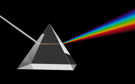 Dispersion of Visible Light Going through Glass Prism on Black Background. Optical Effect Educational Image. Vector Illustration.