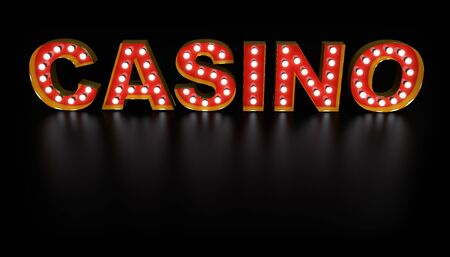 Casino Word Light Bulb Sign with Gold Frame with Reflection on Black Floor. 3D Illustration.