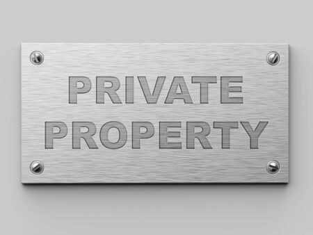 Private Property Metall Door Plate 3D Illustration. Business Concept. Stockfoto - 96080924