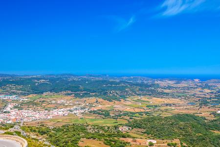 Es Mercadal Town Area Viewed from Monte Toro Mountain at Menorca Island, Spain.