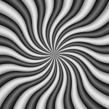 Radial Black and White Swirl Background. Vector Illustration.