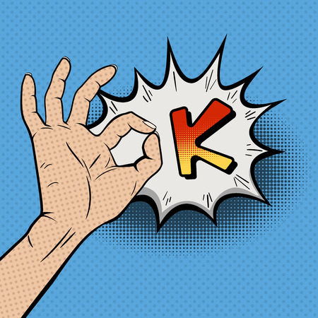 Vintage Pop Art Illustration with OK Gesture of the Hand on Blue Background. Comic Book Style Hand Giving an OK. Retro Style Card. Approbation concept. Vector Illustration.