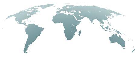 Spherical Curved Gray World Map on White Background. World Shape Design Element. Vector Illustration. Illustration
