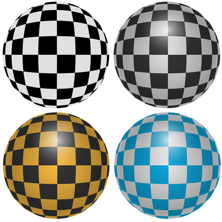 Checkered Pattern Spheres Design Elements Isolated on White Background.
