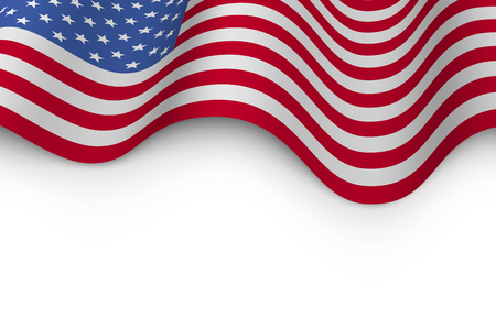 Wavy flag of United States of America with shadow.