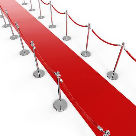 Red Carpet Background with Barrier Stanchion Rope. Diagonal Top View. 3D Illustration. Stock Photo