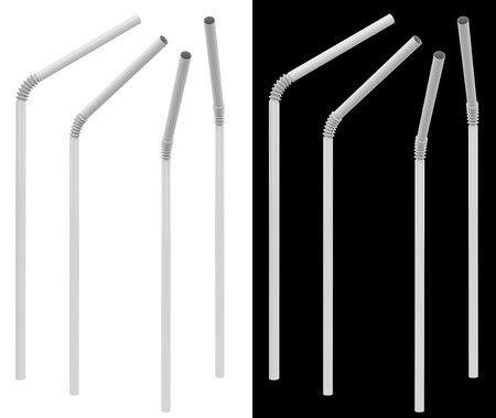 White Plastic Drinking Straw in Different Angles Isolated on White and Black Background. 3D Illustration. Stock Photo