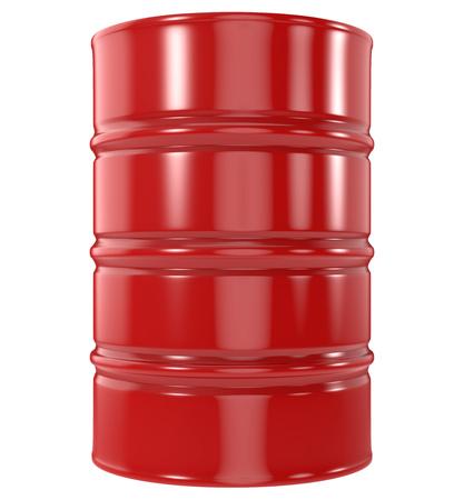 Standaard rode olievat geïsoleerd op een witte achtergrond. 3D-weergave. Stockfoto