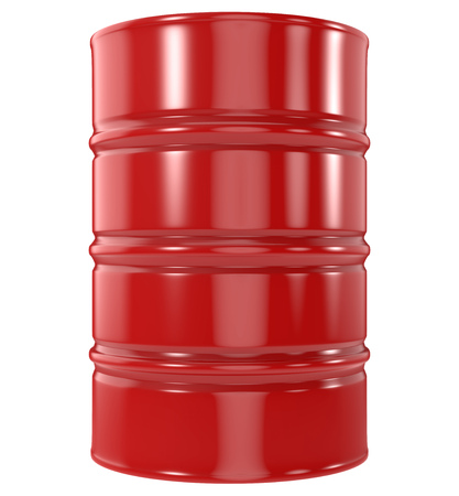 Standard Red Oil Barrel Isolated on White Background. 3D Rendering.