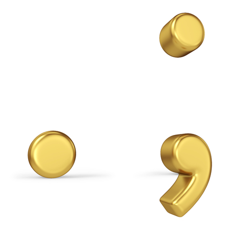 Gold Point, Comma and Semicolon Signs Isolated on White Background. Punctuation Marks. 3D Illustration. Golden Alphabet Collection.