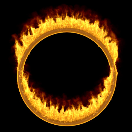 Burning Circus Ring Isolated on Black Background. Front View. 3D Illustration.