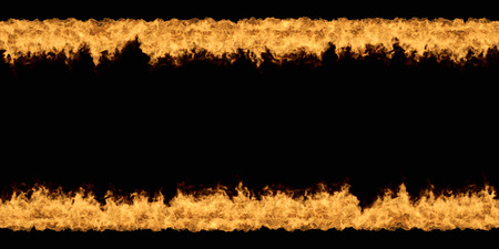Seamless Black background with Bottom and Top Fire Stripes 3D Illustration. Stock Photo
