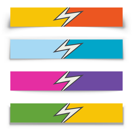 Danger Arrow Split 2 Color Horizontal Banners with Shadow Effect. Vector illustration. Ilustração