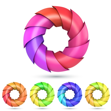 Colorful shells ring logo isolated on white background. Vector illustration. 5 color variants.