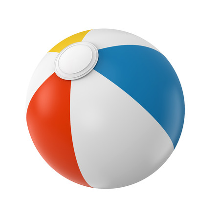 Colorful beach ball studio shot 3D Illustration. White, red, yellow and blue beach ball isolated on white background.