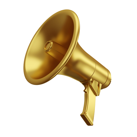 Gold Megaphone Isolated on White Background. Portable Golden Bullhorn Render. 3D Illustration. Фото со стока