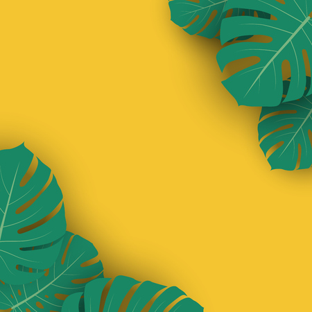 Summer Advertising Banner Template with Monstera Plant Leaves with Yellow Copy Space. Vector Illustration. Tropical Backdrop.