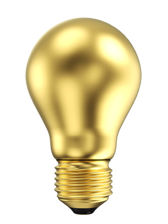 Gold Electric Light Bulb Isolated on White Background. Solution, Ides Symbol. 3D Illustration.