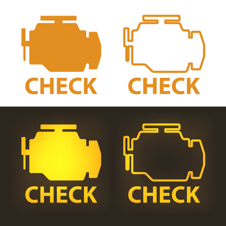 Check Engine Warning Sign on White and Dark Background. Vector Icon.