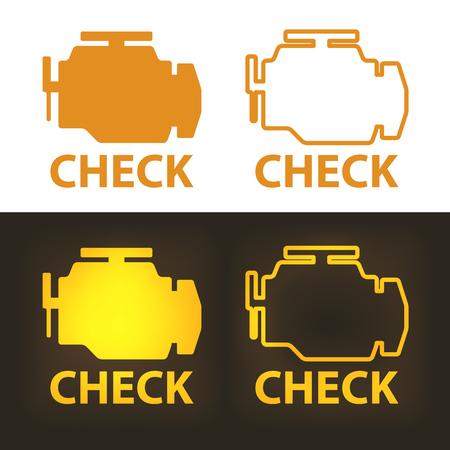 Vérifiez le panneau d'avertissement du moteur sur fond blanc et sombre. Icône de vecteur.