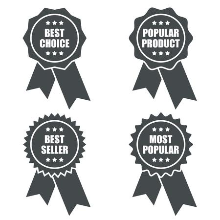 Popular Product Promotional Tag with Ribbons. Vector Illustration. Vektorgrafik