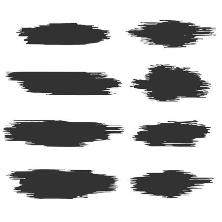 Black and White Paint Stroke Brushes Set. Advertising Design Element. Vector Illustration.