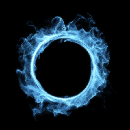 Blue Smoke Magic Glowing Portal Isolated on Black Background. 3D Illustration. 版權商用圖片