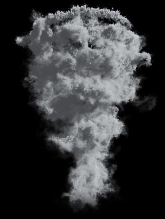 Grey Tornado Dust Isolated on Black Background. 3D Illustration. Smoke overlay mask.