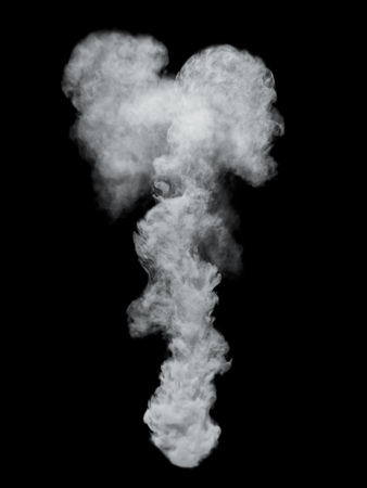 White Dense Vapor Isolated on Black Background. 3D Illustration. Smoke overlay mask. Stok Fotoğraf