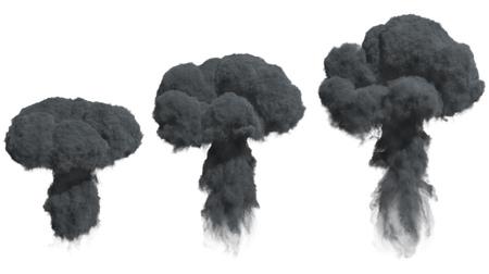 Black Dense Smoke Isolated on White Background. 3D Illustration.