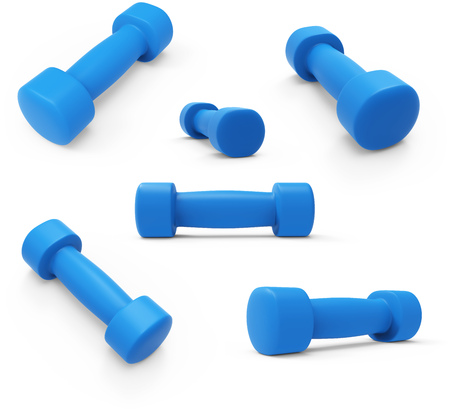 Blue Womens Light Weight Dumbbells  Isolated on White Background. 3D Illustration. Stock Photo