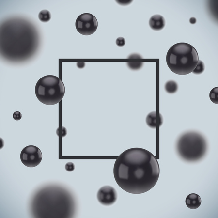 Abstract Black Balls Background for Advertising Poster or Brochure Front Page. Vector Illustration. Black Frame Backdrop. 矢量图像