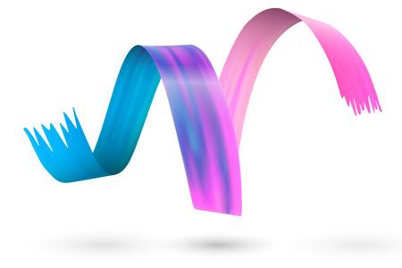 Tourbillon de frottis de coup de pinceau coloré. Élément de conception de coup de pinceau de peinture à l'huile isolé. Illustration vectorielle. Vecteurs