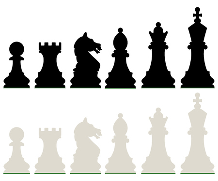Row of Black and White Chess Pieces Isolated on White Background. Vector Illustration.
