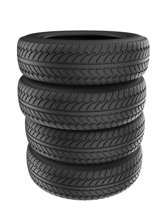Stack of New Studded Winter Tires Isolated on White Background. Snow Spiked Tyres Render. 3D Illustration.